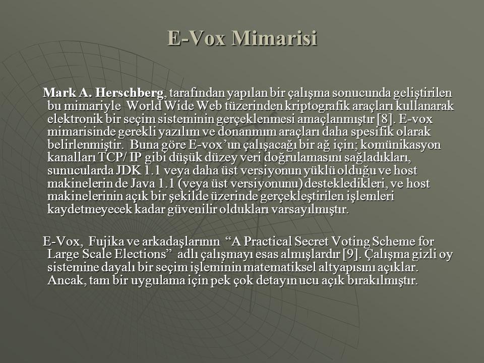 E-Vox Mimarisi Mark A. Herschberg, tarafından yapılan bir çalışma sonucunda geliştirilen bu mimariyle World Wide Web tüzerinden kriptografik araçları