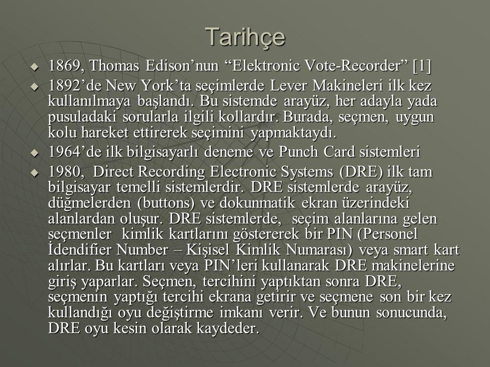 """Tarihçe  1869, Thomas Edison'nun """"Elektronic Vote-Recorder"""" [1]  1892'de New York'ta seçimlerde Lever Makineleri ilk kez kullanılmaya başlandı. Bu s"""
