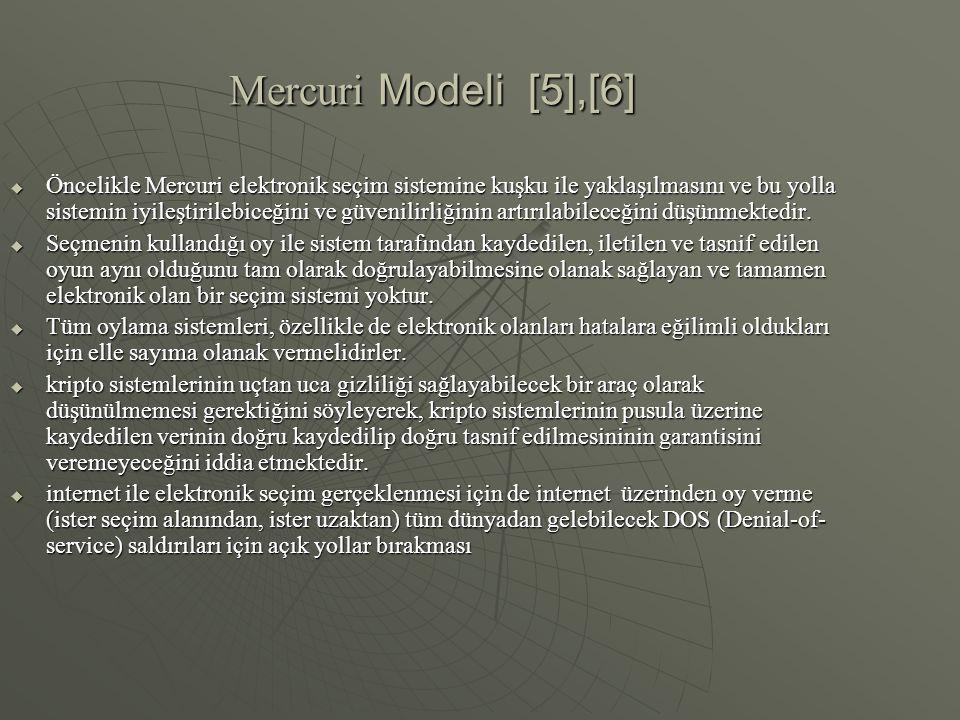 Mercuri Modeli [5],[6]  Öncelikle Mercuri elektronik seçim sistemine kuşku ile yaklaşılmasını ve bu yolla sistemin iyileştirilebiceğini ve güvenilirl