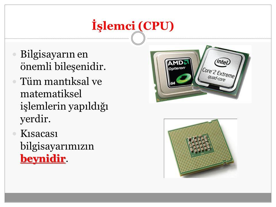 Bellek (Ram) Bilgisayarda verilerin geçici olarak depolandığı hafıza birimidir.