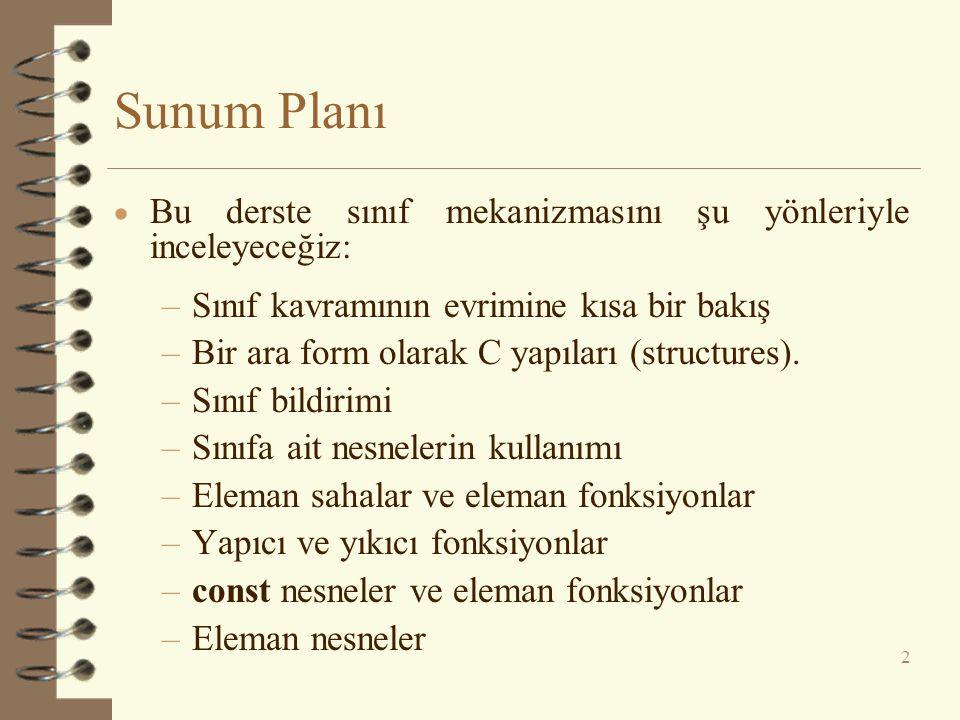 Sunum Planı  Bu derste sınıf mekanizmasını şu yönleriyle inceleyeceğiz: –Sınıf kavramının evrimine kısa bir bakış –Bir ara form olarak C yapıları (structures).