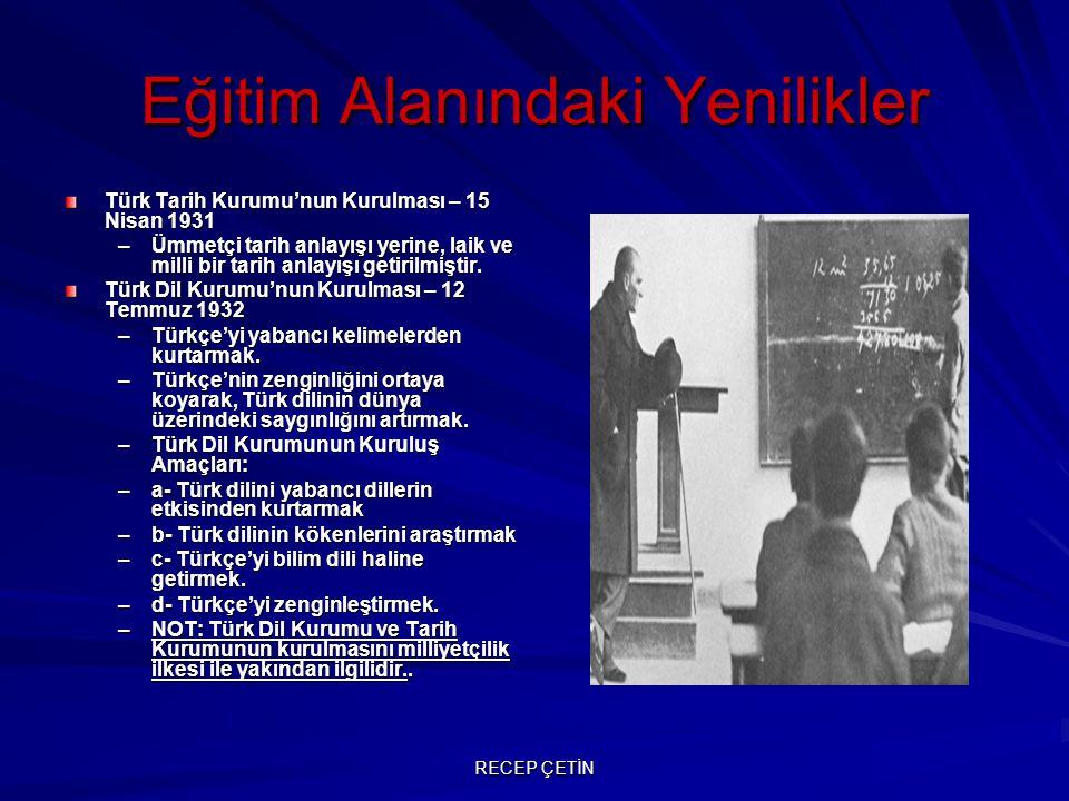Eğitim Alanındaki Yenilikler Millet mekteplerinin açılması(1928) Bu okullar ilkokul seviyesini geçmiş olan vatandaşlara yeni harflerle okuma ve yazmayı öğretmek için açılmış okullardır.