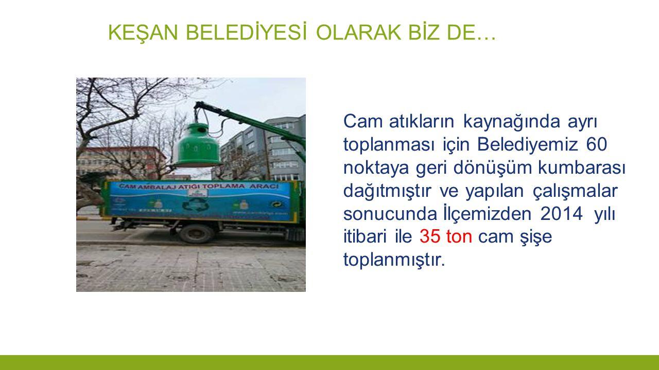 KEŞAN BELEDİYESİ OLARAK BİZ DE… Cam atıkların kaynağında ayrı toplanması için Belediyemiz 60 noktaya geri dönüşüm kumbarası dağıtmıştır ve yapılan çal