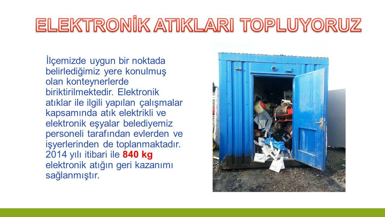 İlçemizde uygun bir noktada belirlediğimiz yere konulmuş olan konteynerlerde biriktirilmektedir. Elektronik atıklar ile ilgili yapılan çalışmalar kaps