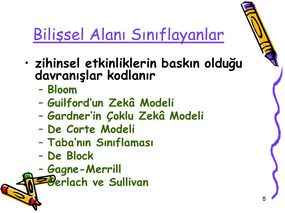 5 Bilişsel Alanı Sınıflayanlar zihinsel etkinliklerin baskın olduğu davranışlar kodlanır –Bloom –Guilford'un Zekâ Modeli –Gardner'in Çoklu Zekâ Modeli –De Corte Modeli –Taba'nın Sınıflaması –De Block –Gagne-Merrill –Gerlach ve Sullivan