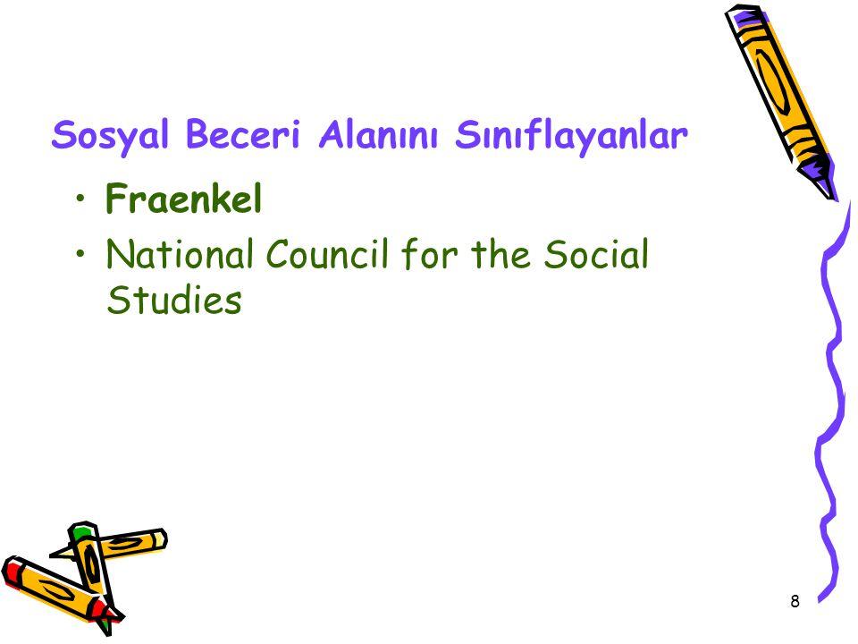 8 Sosyal Beceri Alanını Sınıflayanlar Fraenkel National Council for the Social Studies
