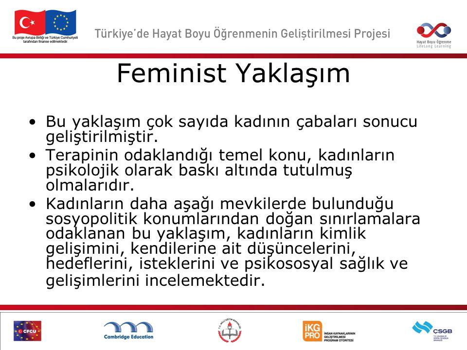 Feminist Yaklaşım Bu yaklaşım çok sayıda kadının çabaları sonucu geliştirilmiştir. Terapinin odaklandığı temel konu, kadınların psikolojik olarak bask