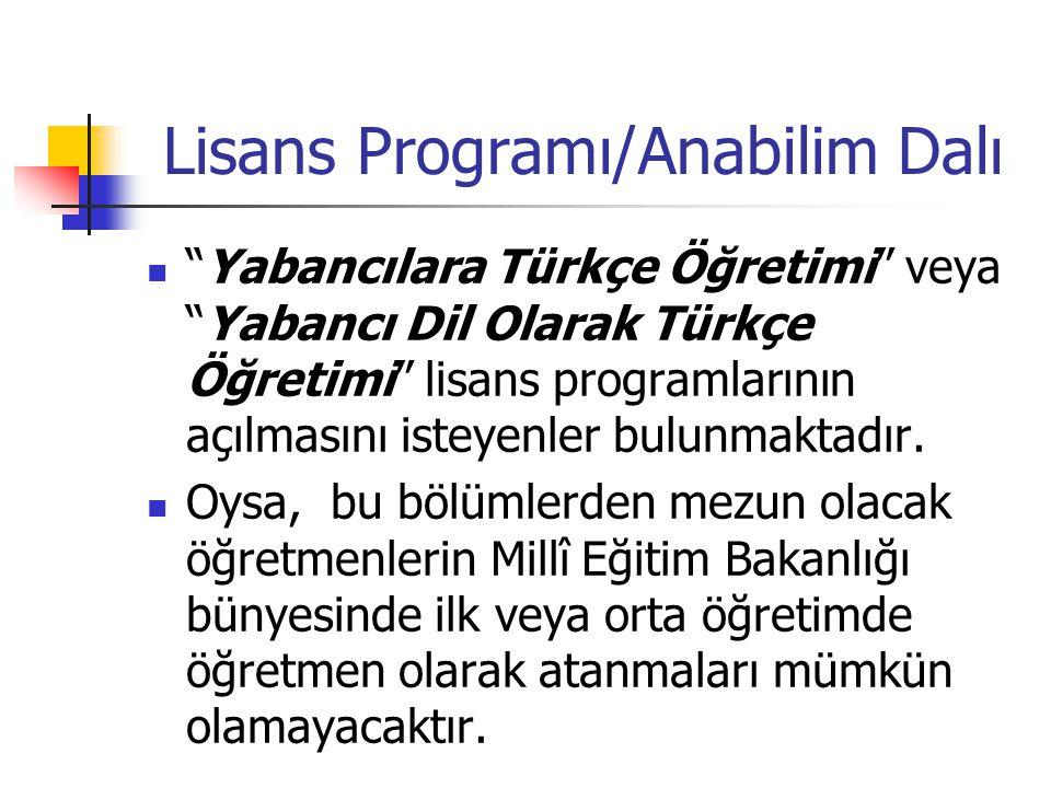 Lisans Programı/Anabilim Dalı Yabancılara Türkçe Öğretimi veya Yabancı Dil Olarak Türkçe Öğretimi lisans programlarının açılmasını isteyenler bulunmaktadır.