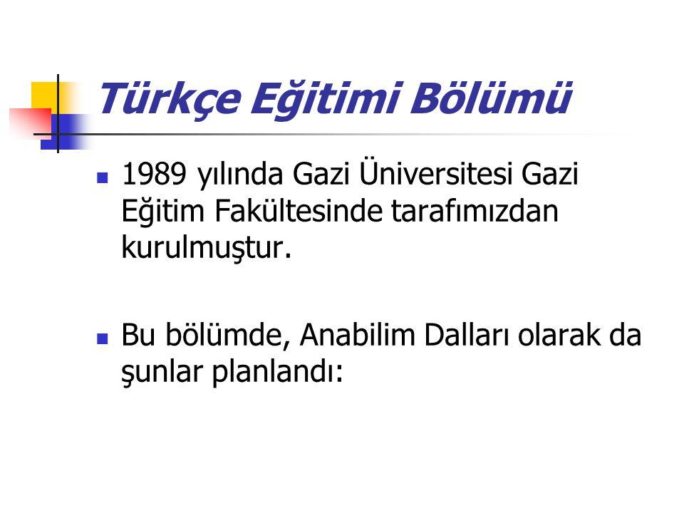 Türkçe Eğitimi Bölümü 1989 yılında Gazi Üniversitesi Gazi Eğitim Fakültesinde tarafımızdan kurulmuştur.