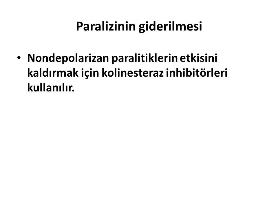 Paralizinin giderilmesi Nondepolarizan paralitiklerin etkisini kaldırmak için kolinesteraz inhibitörleri kullanılır.