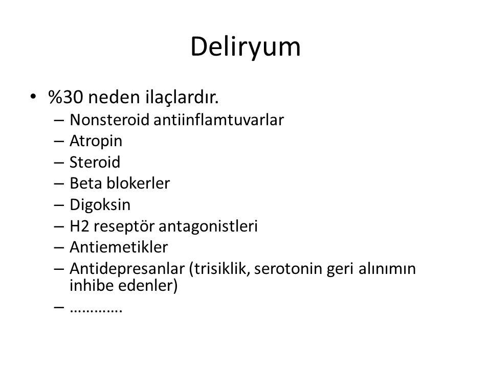 Deliryum %30 neden ilaçlardır. – Nonsteroid antiinflamtuvarlar – Atropin – Steroid – Beta blokerler – Digoksin – H2 reseptör antagonistleri – Antiemet