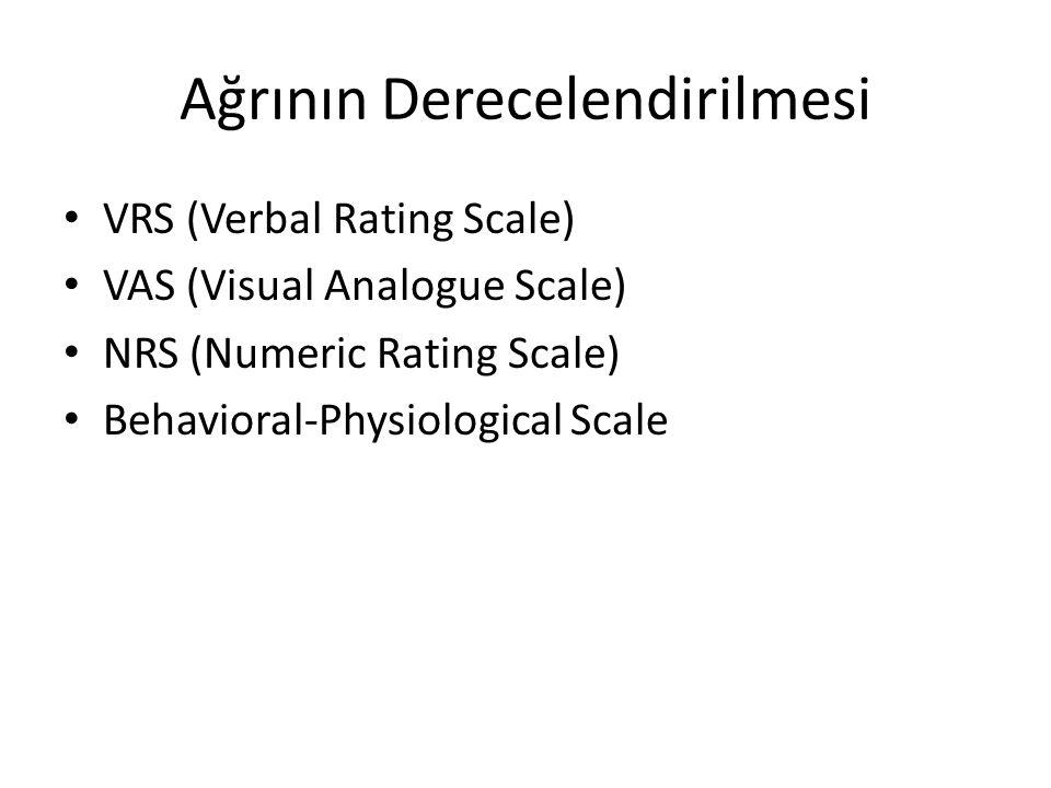 Ağrının Derecelendirilmesi VRS (Verbal Rating Scale) VAS (Visual Analogue Scale) NRS (Numeric Rating Scale) Behavioral-Physiological Scale