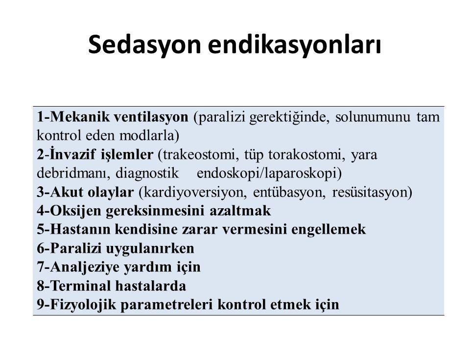 Sedasyon endikasyonları 1-Mekanik ventilasyon (paralizi gerektiğinde, solunumunu tam kontrol eden modlarla) 2-İnvazif işlemler (trakeostomi, tüp torak