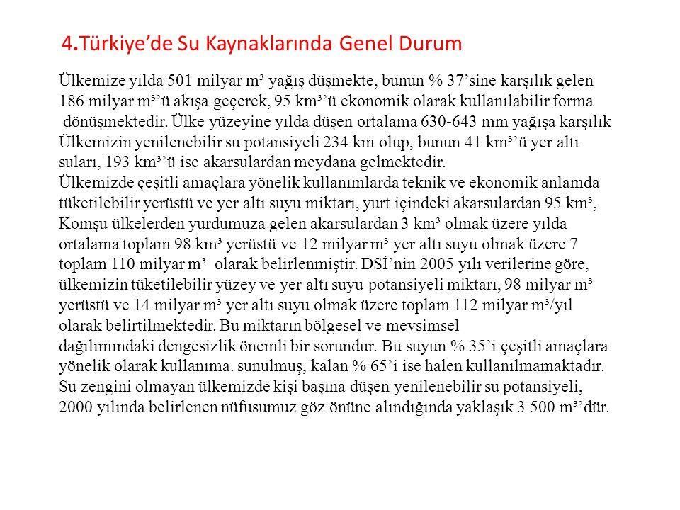 4.Türkiye'de Su Kaynaklarında Genel Durum Ülkemize yılda 501 milyar m³ yağış düşmekte, bunun % 37'sine karşılık gelen 186 milyar m³'ü akışa geçerek, 9