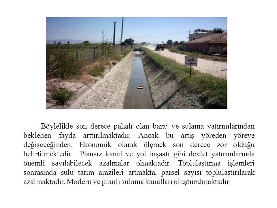 Böylelikle son derece pahalı olan baraj ve sulama yatırımlarından beklenen fayda arttırılmaktadır. Ancak bu artış yöreden yöreye değişeceğinden, Ekono