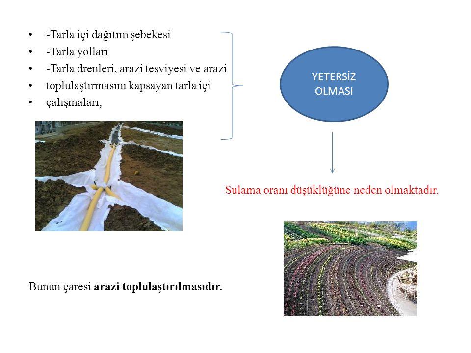 -Tarla içi dağıtım şebekesi -Tarla yolları -Tarla drenleri, arazi tesviyesi ve arazi toplulaştırmasını kapsayan tarla içi çalışmaları, YETERSİZ OLMASI