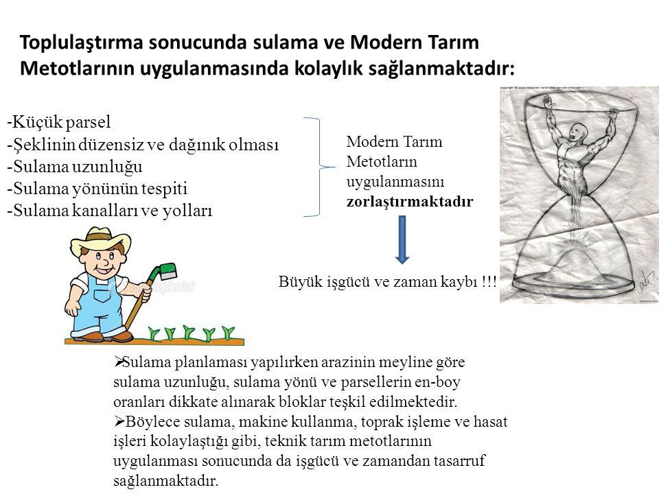 Toplulaştırma sonucunda sulama ve Modern Tarım Metotlarının uygulanmasında kolaylık sağlanmaktadır: - Küçük parsel -Şeklinin düzensiz ve dağınık olmas