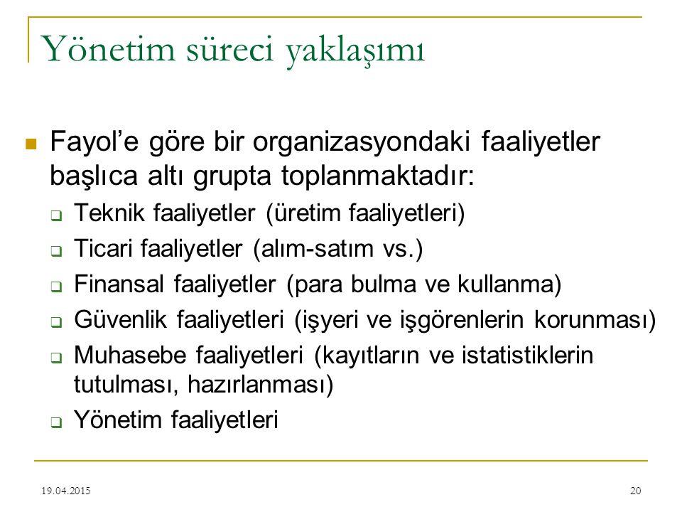 20 Yönetim süreci yaklaşımı Fayol'e göre bir organizasyondaki faaliyetler başlıca altı grupta toplanmaktadır:  Teknik faaliyetler (üretim faaliyetler