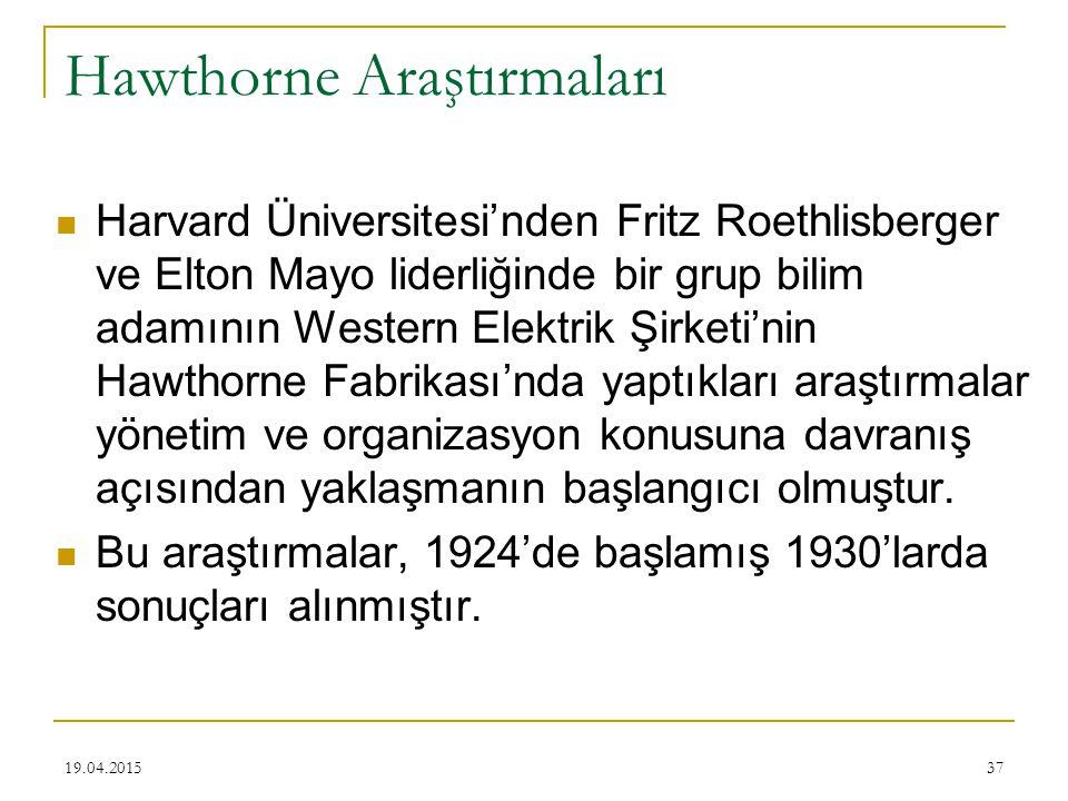 37 Hawthorne Araştırmaları Harvard Üniversitesi'nden Fritz Roethlisberger ve Elton Mayo liderliğinde bir grup bilim adamının Western Elektrik Şirketi'