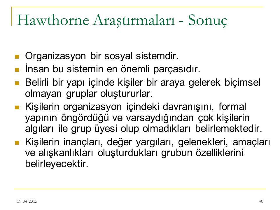 40 Hawthorne Araştırmaları - Sonuç Organizasyon bir sosyal sistemdir. İnsan bu sistemin en önemli parçasıdır. Belirli bir yapı içinde kişiler bir aray
