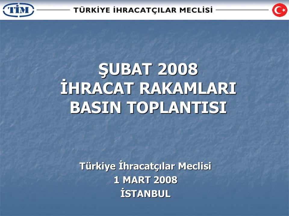 ŞUBAT 2008 İHRACAT RAKAMLARI BASIN TOPLANTISI Türkiye İhracatçılar Meclisi 1 MART 2008 İSTANBUL