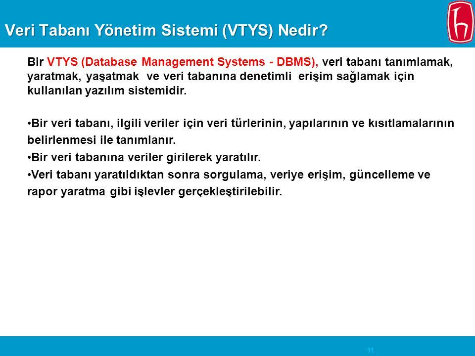 11 Veri Tabanı Yönetim Sistemi (VTYS) Nedir? Bir VTYS (Database Management Systems - DBMS), veri tabanı tanımlamak, yaratmak, yaşatmak ve veri tabanın