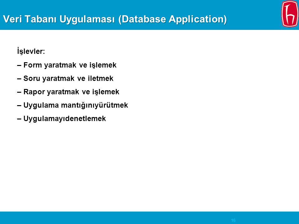 16 Veri Tabanı Uygulaması (Database Application) İşlevler: – Form yaratmak ve işlemek – Soru yaratmak ve iletmek – Rapor yaratmak ve işlemek – Uygulam