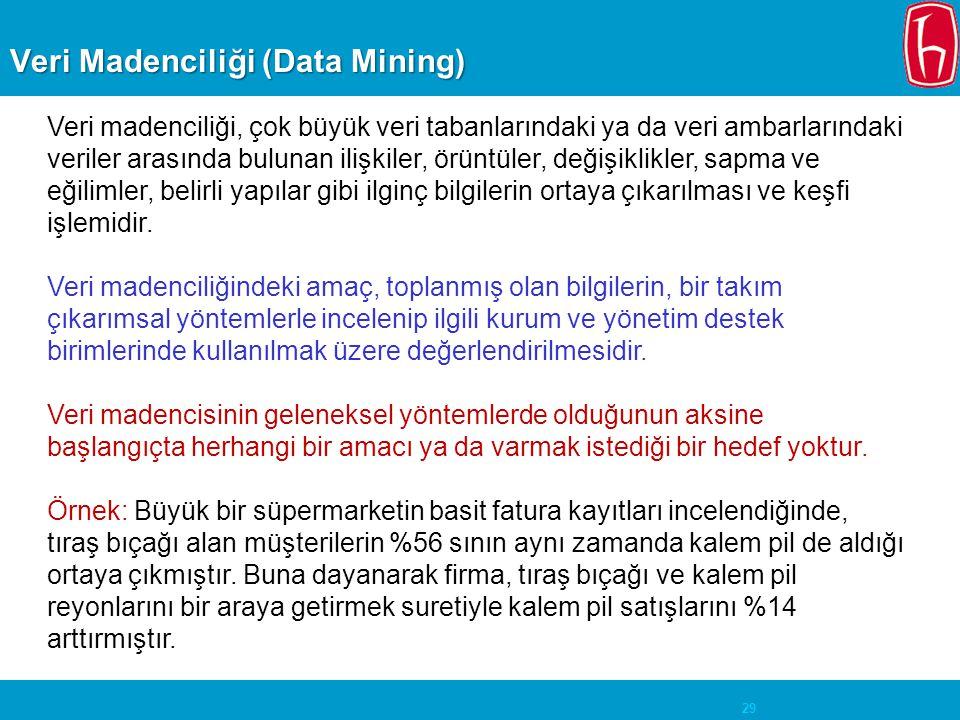 29 Veri Madenciliği (Data Mining) Veri madenciliği, çok büyük veri tabanlarındaki ya da veri ambarlarındaki veriler arasında bulunan ilişkiler, örüntü