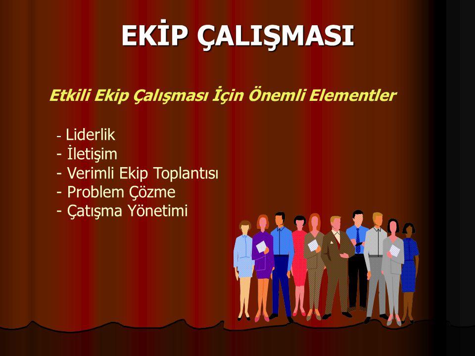 EKİP ÇALIŞMASI Etkili Ekip Çalışması İçin Önemli Elementler - Liderlik - İletişim - Verimli Ekip Toplantısı - Problem Çözme - Çatışma Yönetimi