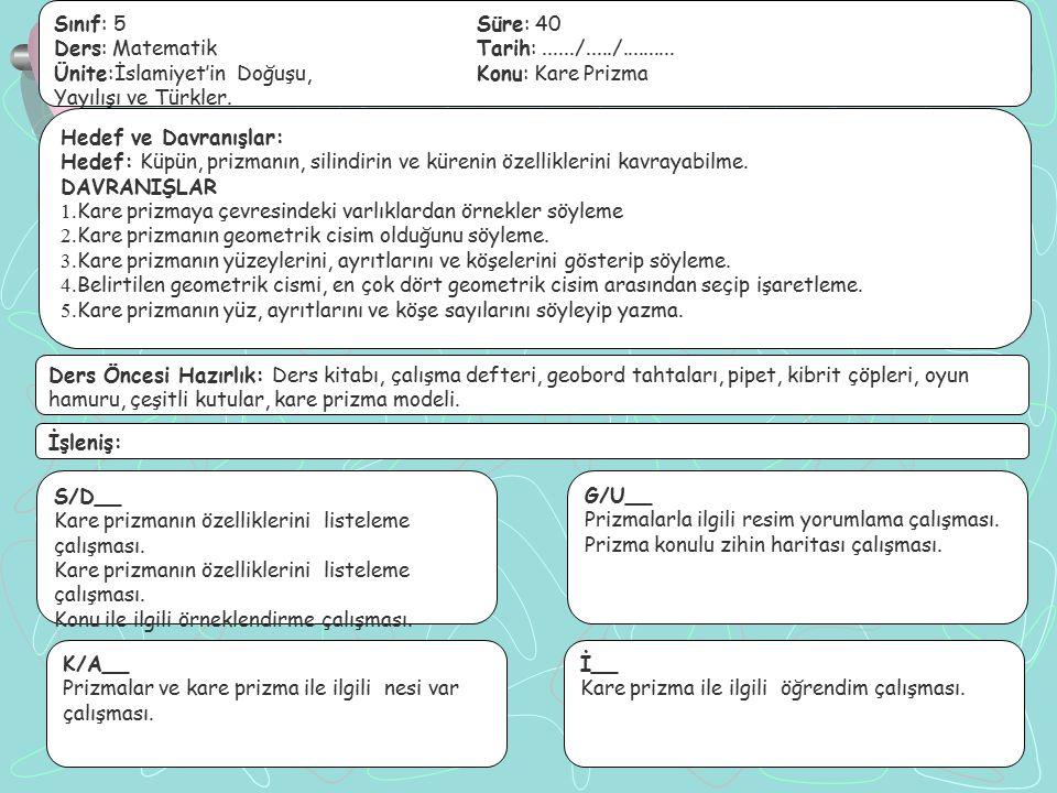 Sınıf: 5Süre: 40 Ders: MatematikTarih:....../...../.......... Ünite:İslamiyet'in Doğuşu,Konu: Kare Prizma Yayılışı ve Türkler. Hedef ve Davranışlar: H