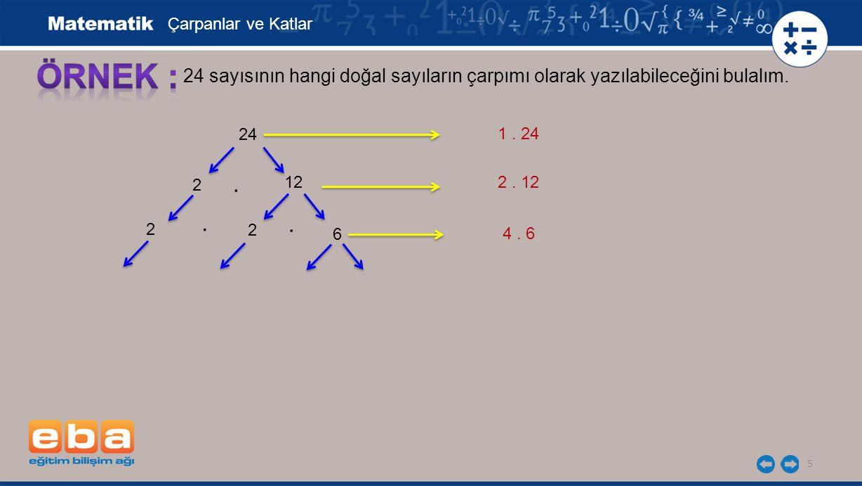 5 24 sayısının hangi doğal sayıların çarpımı olarak yazılabileceğini bulalım.