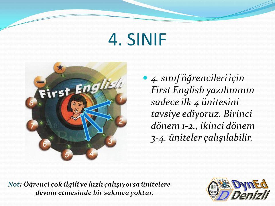 4. SINIF 4. sınıf öğrencileri için First English yazılımının sadece ilk 4 ünitesini tavsiye ediyoruz. Birinci dönem 1-2., ikinci dönem 3-4. üniteler ç