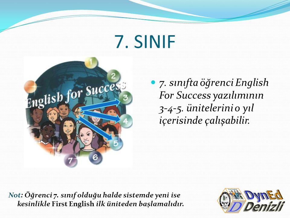 7. SINIF 7. sınıfta öğrenci English For Success yazılımının 3-4-5. ünitelerini o yıl içerisinde çalışabilir. Not: Öğrenci 7. sınıf olduğu halde sistem
