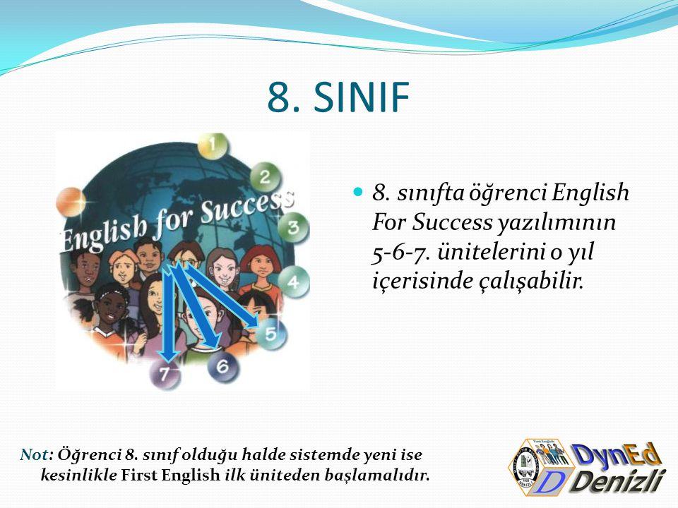 8. SINIF 8. sınıfta öğrenci English For Success yazılımının 5-6-7. ünitelerini o yıl içerisinde çalışabilir. Not: Öğrenci 8. sınıf olduğu halde sistem