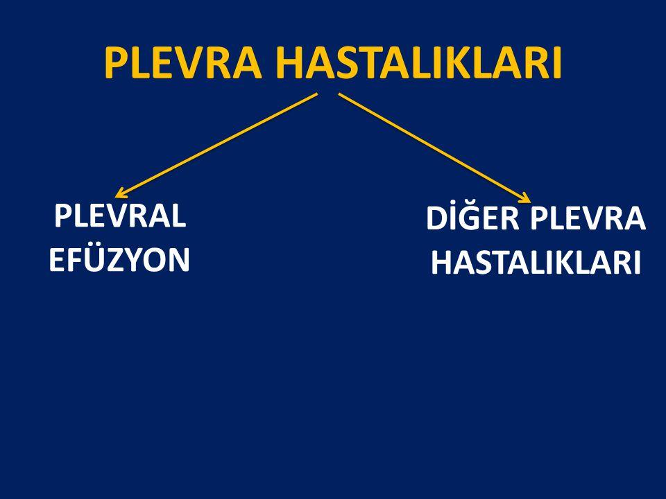 Diagnostic value of pleural fluid N-terminal pro-brain natriuretic peptide levels in patients with cardiovascular diseases 40 Plevral Efüzyonlu Hasta 10 KKY, 10 Malign, 10 Koroner Arter Cerrahi, 10 P.Emboli Pro BNP > 2220 pg/ml ise KKY'e bağlı P.Efüzyon Liao H, Jun M, Dikensoy O.