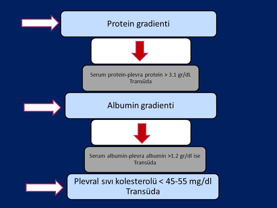 Protein gradienti Serum protein-plevra protein > 3.1 gr/dL Transüda Albumin gradienti Serum albumin-plevra albumin >1.2 gr/dl ise Transüda Plevral sıv
