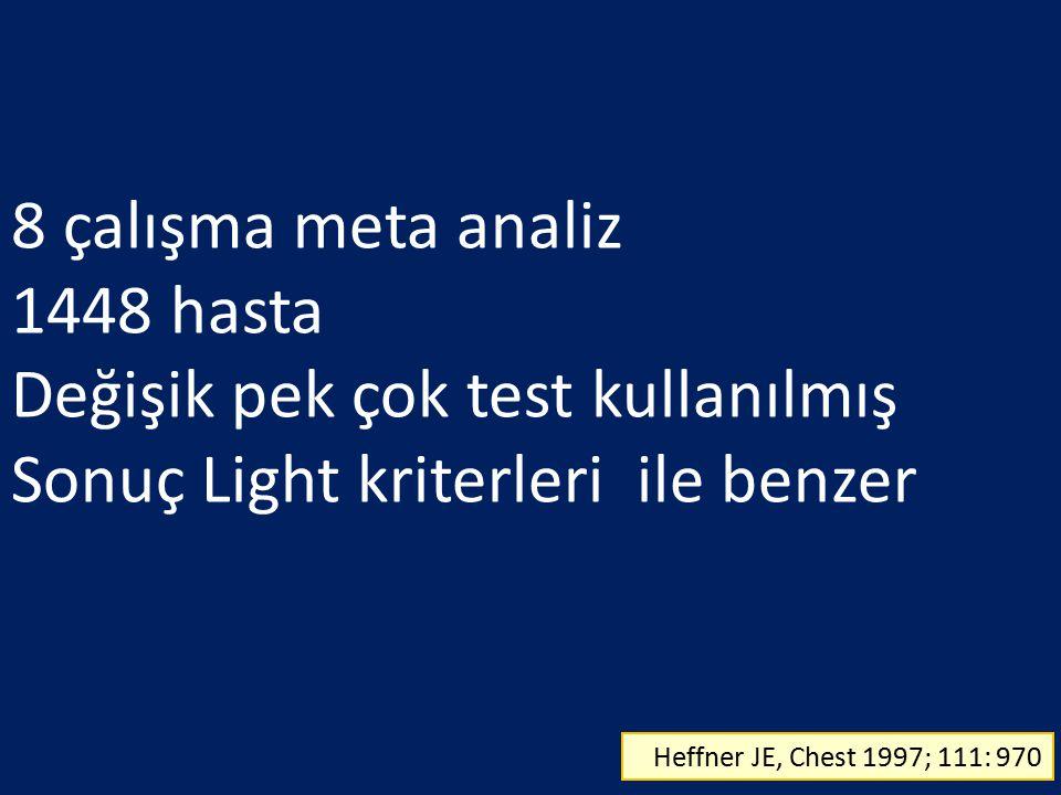 8 çalışma meta analiz 1448 hasta Değişik pek çok test kullanılmış Sonuç Light kriterleri ile benzer Heffner JE, Chest 1997; 111: 970