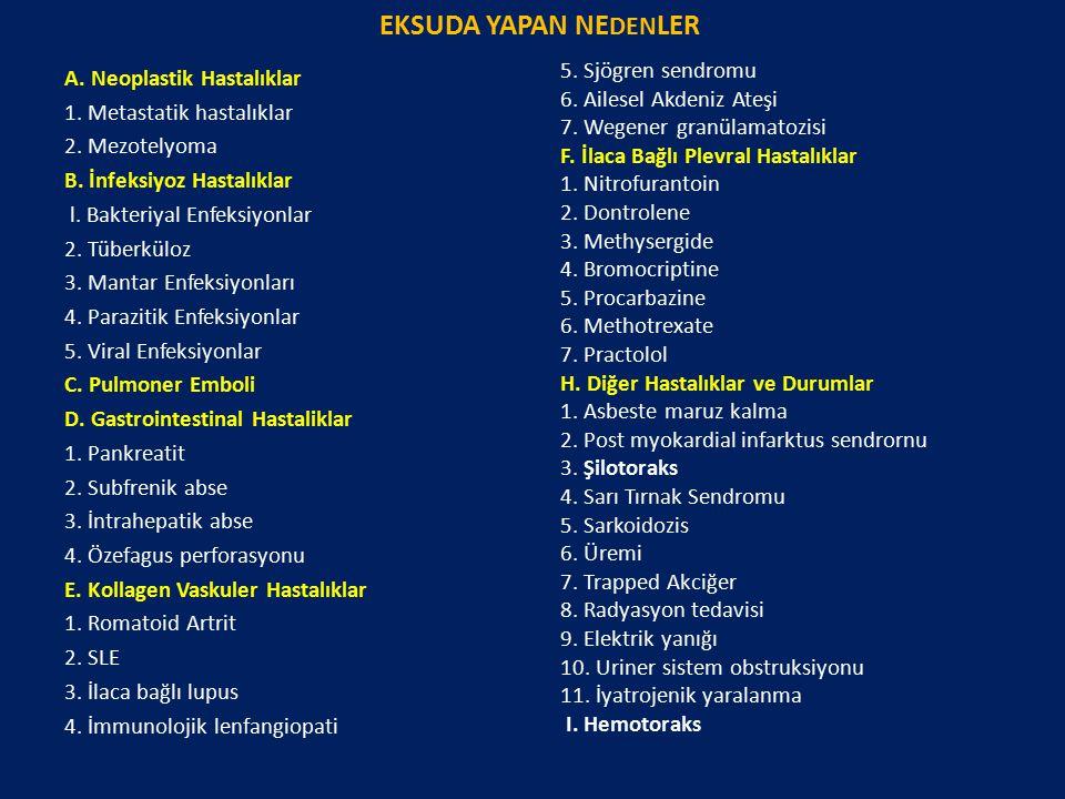 EKSUDA YAPAN NE DEN LER A. Neoplastik Hastalıklar 1. Metastatik hastalıklar 2. Mezotelyoma B. İnfeksiyoz Hastalıklar l. Bakteriyal Enfeksiyonlar 2. Tü
