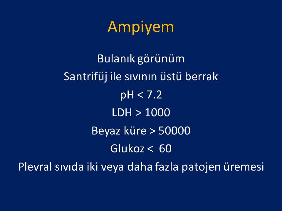 Ampiyem Bulanık görünüm Santrifüj ile sıvının üstü berrak pH < 7.2 LDH > 1000 Beyaz küre > 50000 Glukoz < 60 Plevral sıvıda iki veya daha fazla patoje