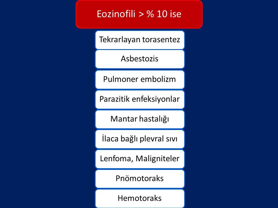 Eozinofili > % 10 ise Tekrarlayan torasentezAsbestozisPulmoner embolizmParazitik enfeksiyonlarMantar hastalığıİlaca bağlı plevral sıvıLenfoma, Maligni