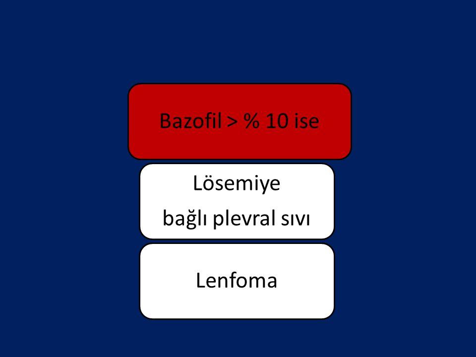 Bazofil > % 10 ise Lösemiye bağlı plevral sıvı Lenfoma
