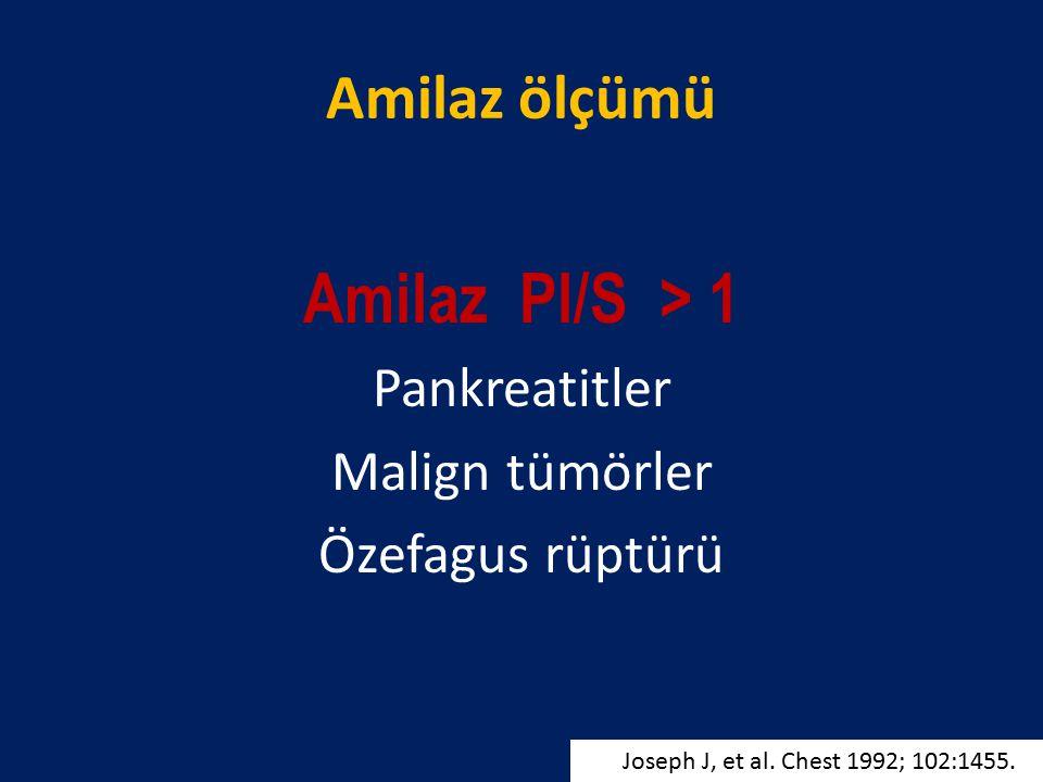 Amilaz ölçümü Amilaz Pl/S > 1 Pankreatitler Malign tümörler Özefagus rüptürü Joseph J, et al. Chest 1992; 102:1455.