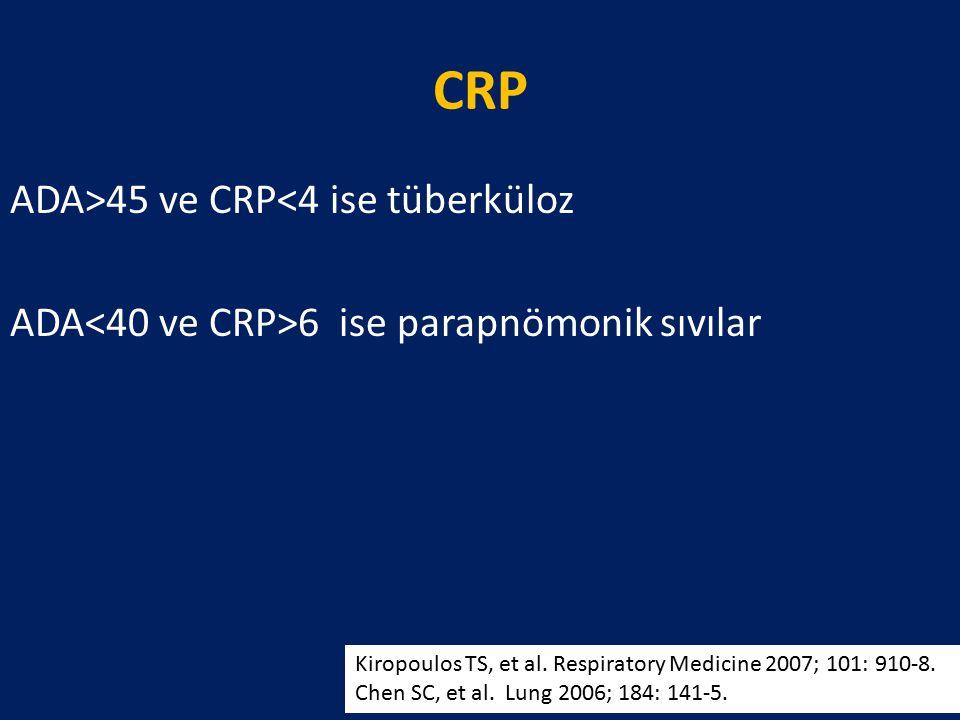 CRP ADA>45 ve CRP<4 ise tüberküloz ADA 6 ise parapnömonik sıvılar Kiropoulos TS, et al. Respiratory Medicine 2007; 101: 910-8. Chen SC, et al. Lung 20