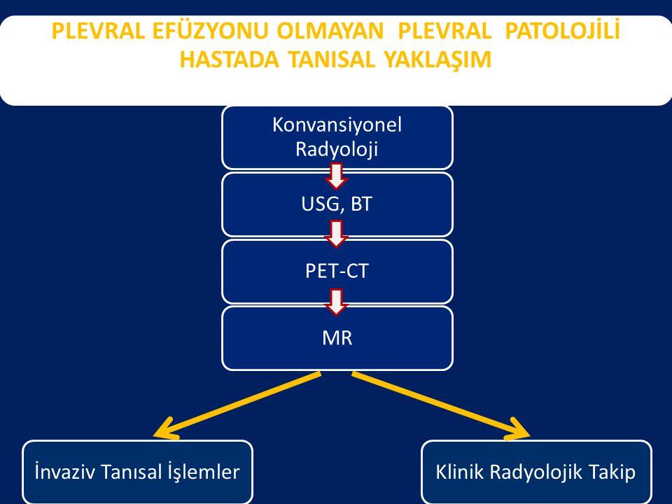PLEVRAL EFÜZYONU OLMAYAN PLEVRAL PATOLOJİLİ HASTADA TANISAL YAKLAŞIM Konvansiyonel Radyoloji USG, BTPET-CTMRİnvaziv Tanısal İşlemlerKlinik Radyolojik