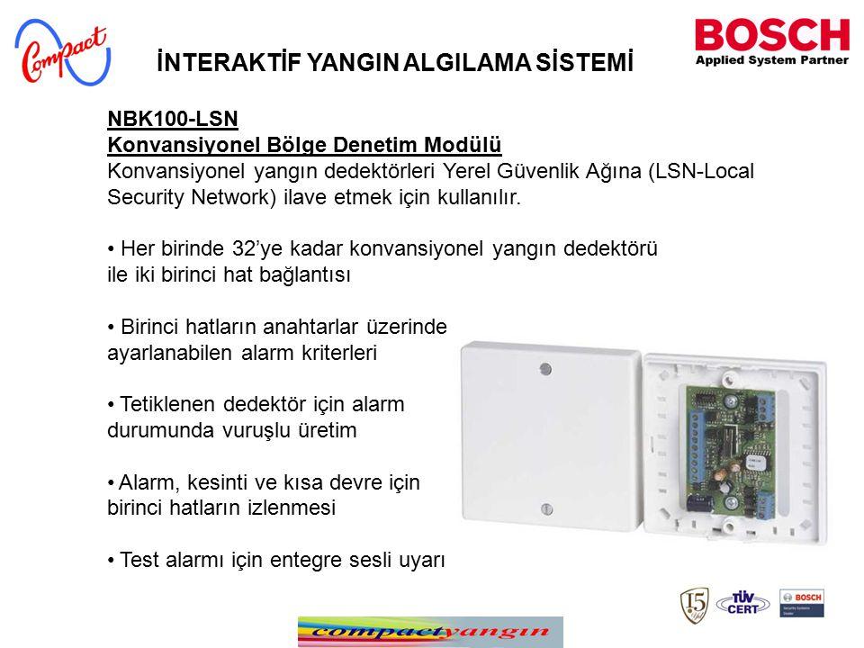 NBK100-LSN Konvansiyonel Bölge Denetim Modülü Konvansiyonel yangın dedektörleri Yerel Güvenlik Ağına (LSN-Local Security Network) ilave etmek için kullanılır.