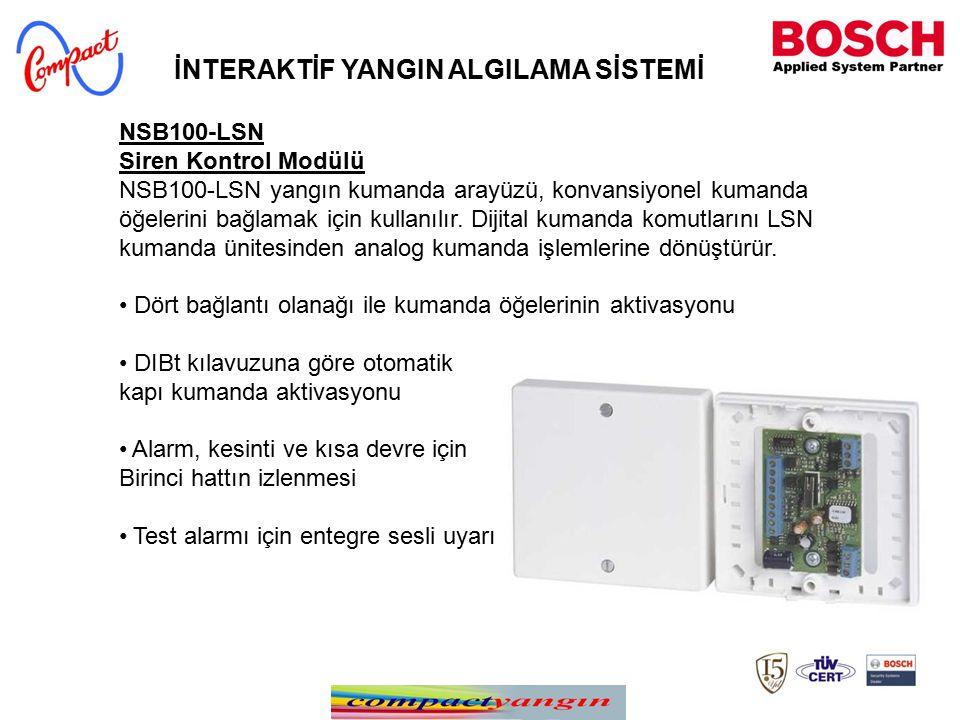 NSB100-LSN Siren Kontrol Modülü NSB100-LSN yangın kumanda arayüzü, konvansiyonel kumanda öğelerini bağlamak için kullanılır. Dijital kumanda komutları