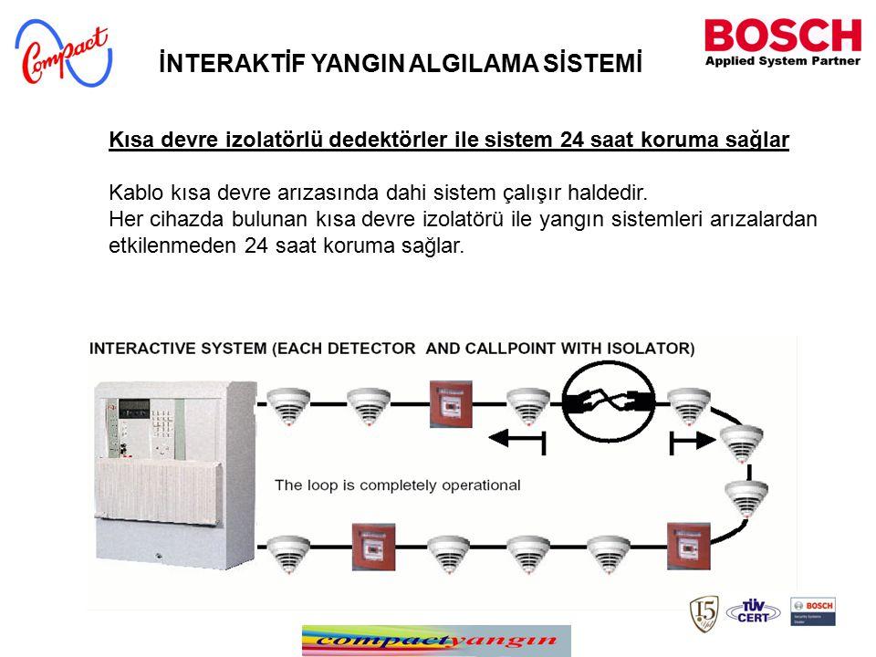 Kısa devre izolatörlü dedektörler ile sistem 24 saat koruma sağlar Kablo kısa devre arızasında dahi sistem çalışır haldedir. Her cihazda bulunan kısa