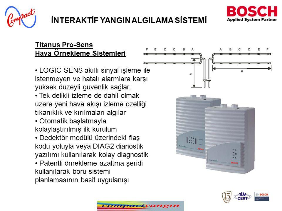 Titanus Pro-Sens Hava Örnekleme Sistemleri LOGIC-SENS akıllı sinyal işleme ile istenmeyen ve hatalı alarmlara karşı yüksek düzeyli güvenlik sağlar. Te