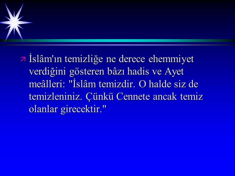 ä İslâm'ın temizliğe ne derece ehemmiyet verdiğini gösteren bâzı hadis ve Ayet meâlleri: