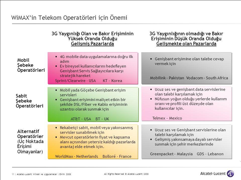 All Rights Reserved © Alcatel-Lucent 2008 11 | Alcatel-Lucent WiMAX ve Uygulamalar | Ekim 2008 WiMAX'in Telekom Operatörleri için Önemi  4G mobile data uygulamalarına doğru ilk adım  Ev bireysel kullanıcılarını hedefleyen Genişbant Servis Sağlayıcılara karşı stratejik hareket Sprint/Clearwire - USA KT - Korea  Genişbant erişimine olan talebe cevap vermek için Mobilink – Pakistan Vodacom – South Africa  Mobil yada Göçebe Genişbant erişim servisleri  Genişbant erişimini maliyet etkin bir şekilde DSL/Fiber ve Kablo erişiminin uzantısı olarak sunmak için AT&T – USA BT – UK  Ucuz ses ve genişbant data servislerine olan talebi karşılamak için  Nüfusun yoğun olduğu yerlerde kullanım oranı ve profili üst düzeyde olan kullanıcılar için.